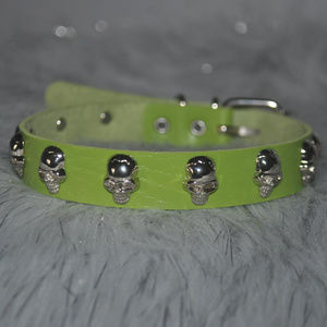 Green Skull Studded Leather Choker